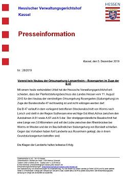 Pressemitteilung vom VGH Kassel zum Urteil vom 05.12.2019